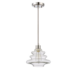 Chrome One-Light Nine-Inch Mini Pendant with Clear Glass Shade