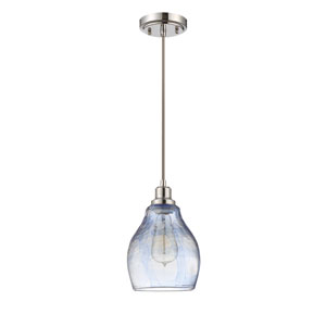 Chrome One-Light Seven-Inch Mini Pendant with Blue Hue Glass Shade