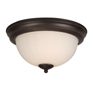 Frosted Melon Step Pan Oiled Bronze Semi-Flush Pendant