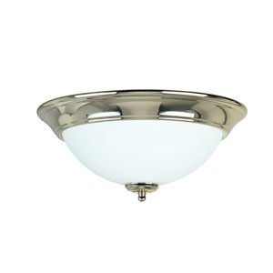 Polished Nickel Two-Light Flush Mount with Frosted White Glass Shade