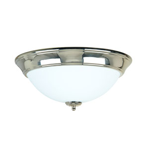 Polished Nickel Three-Light Flush Mount with Frosted White Glass Shade
