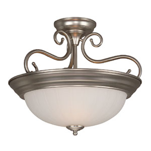 Brushed Satin Nickel Two-Light Semi-Flush Mount with Frosted Melon Glass Shade