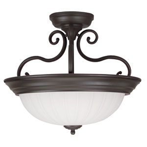 Oiled Bronze Two-Light Semi Flush Mount with Frosted Melon Glass
