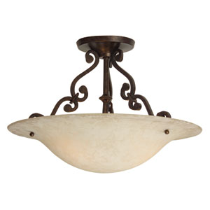 Toscana Aged Bronze Two-Light Semi-Flush Mount with Antique Scavo Glass Shade