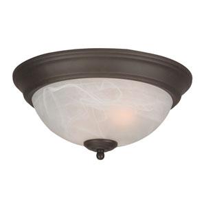 Standard Alabaster Step Pan Oiled Bronze Flush Ceiling Fixture