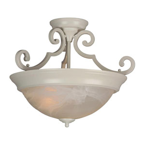 White Two-Light Semi-Flush Mount with Alabaster Swirl Glass Shade