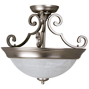 Brushed Nickel Two-Light 16.5-Inch Flush Mount with Alabaster Swirl Glass