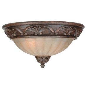 Barcelona Aged Bronze Two-Light Flush Mount with Tea Stained Glass