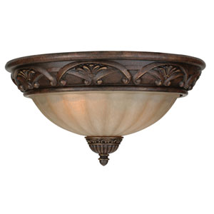 Barcelona Aged Bronze Three-Light Flush Mount with Tea Stained Glass