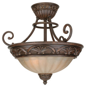 Barcelona Aged Bronze Two-Light Semi Flush Mount with Tea Stained Glass