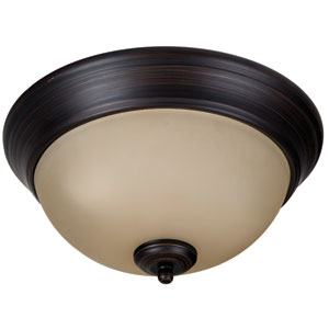 Pro Builder Aged Bronze Brushed Two-Light 11-Inch Flush Mount with Amber Frost Glass Shade