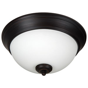 Pro Builder Aged Bronze Brushed Two-Light 11-Inch Flush Mount with White Frost Glass Shade