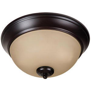 Pro Builder Oiled Bronze Two-Light 11-Inch Flush Mount with Amber Frost Glass Shade