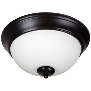 Pro Builder Oiled Bronze Two-Light 11-Inch Flush Mount with White Frost Glass Shade
