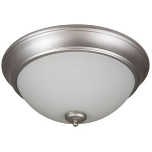 Pro Builder Brushed Satin Nickel Two-Light 13-Inch Flush Mount with White Frost Glass Shade