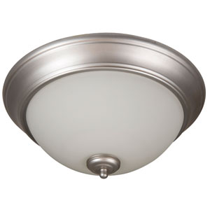 Pro Builder Brushed Satin Nickel Three-Light Flush Mount with White Frost Glass Shade