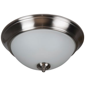 Pro Builder Brushed Nickel Three-Light Flush Mount with White Frost Glass Shade