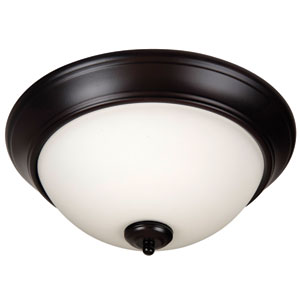 Pro Builder Oiled Bronze Three-Light Flush Mount with White Frost Glass Shade