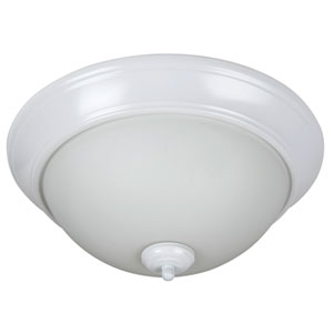 Pro Builder White Three-Light Flush Mount with White Frost Glass Shade
