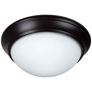 Pro Builder Premium Oiled Bronze Two-Light 11-Inch Flush Mount with White Twist Glass Shade
