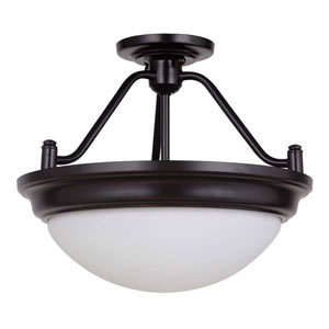 Pro Builder Premium Oiled Bronze Two-Light Semi-Flush Mount with White Frosted Glass Shade
