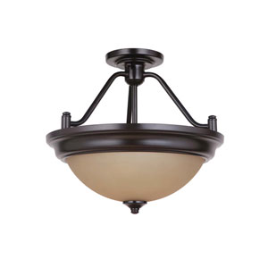 Pro Builder Oiled Bronze Two-Light Semi-Flush Mount with Amber Frost Glass Shade