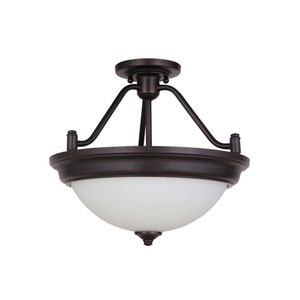 Pro Builder Oiled Bronze Two-Light Semi-Flush Mount with White Frosted Glass Shade
