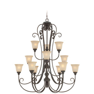 Barrett Place Mocha Bronze 44-Inch Twelve-Light Chandelier with Light Amber Etched Glass