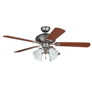 Beaufort Antique Nickel 52-Inch Four-Light Ceiling Fan with Reversible Ash and Mahogany Blades