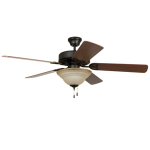Builder Deluxe Aged Bronze Brushed 52-Inch Two-Light Ceiling Fan with Reversible Dark Oak and Mahogany Blades
