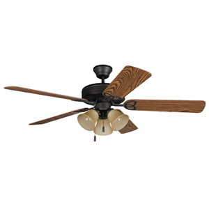 Builder Deluxe Aged Bronze Brushed 52-Inch Three-Light Ceiling Fan with Reversible Dark Oak and Mahogany Blades