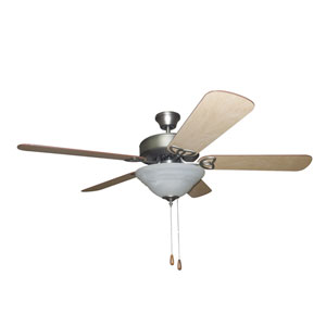 Builder Deluxe Antique Nickel 52-Inch Two-Light Ceiling Fan with Reversible Ash and Mahogany Blades