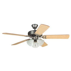 Builder Deluxe Antique Nickel 52-Inch Three-Light Ceiling Fan with Reversible Ash and Mahogany Blades