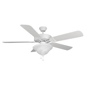 Builder Deluxe Matte White 52-Inch Two-Light Ceiling Fan with Matte White Blades