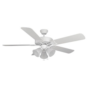 Builder Deluxe Matte White 52-Inch Three-Light Ceiling Fan with Matte White Blades