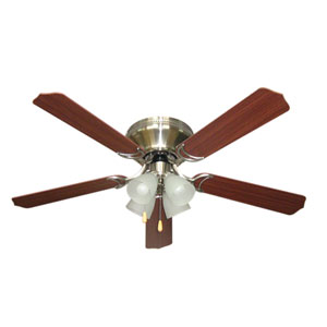 Brilliante Brushed Nickel 52 Inch Blade Span Ceiling Fan, Blades And Light Kit