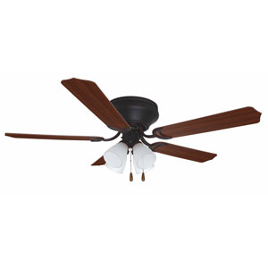 Brilliante Oil Rubbed Bronze 52 Inch Blade Span Ceiling Fan, Blades And Light Kit