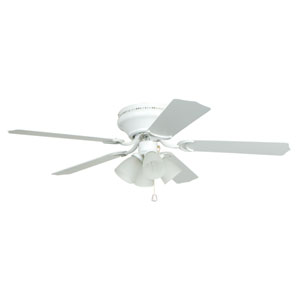 Brilliante White 52-Inch Four-Light Ceiling Fan with Reversible White and Washed Oak Blades