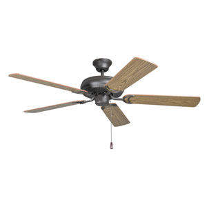 Decorators Choice French Bronze 52-Inch Ceiling Fan with Reversible Dark Oak and Mahogany Blades