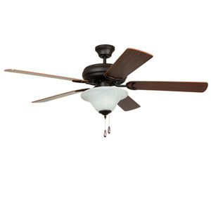 Decorators Choice French Bronze 52-Inch Three-Light Ceiling Fan with Reversible Dark Oak and Mahogany Blades