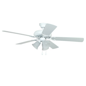 Decorators Choice Matte White 52-Inch Three-Light Ceiling Fan with Matte White Blades