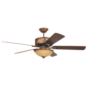 Deer Lodge Dark Mahogany and Iron 60-Inch Three-Light Ceiling Fan with Reversible Mahogany and Pine Blades
