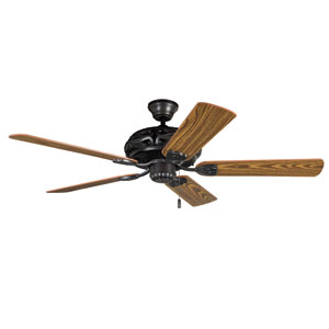 Grandeur Aged Bronze Brushed 52-Inch Four-Light Ceiling Fan with Reversible Dark Oak and Mahogany Blades
