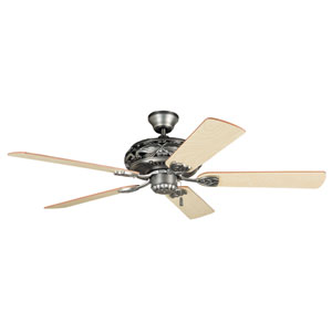 Grandeur Antique Nickel 52-Inch Four-Light Ceiling Fan with Reversible Ash and Mahogany Blades