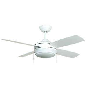 Laval Matte White 44-Inch Ceiling Fan with Matte White Blades and LED Light Kit