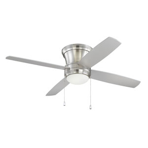Laval Hugger Brushed Polished Nickel 52-Inch Fluorescent Ceiling Fan with Reversible Silver Blades