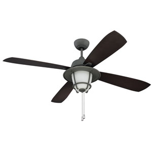 Morrow Bay Aged Galvanized 56-Inch Three-Light Outdoor Ceiling Fan with Dark Walnut Blades