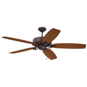 Patterson Aged Bronze Highlight 64-Inch Ceiling Fan with Reversible Walnut and Teak Blades