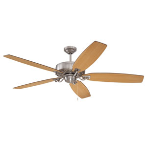 Patterson Brushed Polished Nickel 64-Inch Ceiling Fan with Reversible Walnut and Maple Blades