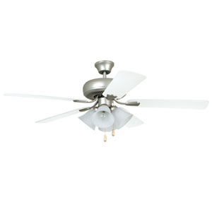 Piedmont Brushed Pewter 52-Inch Four-Light Ceiling Fan with Reversible Ash and White Blades